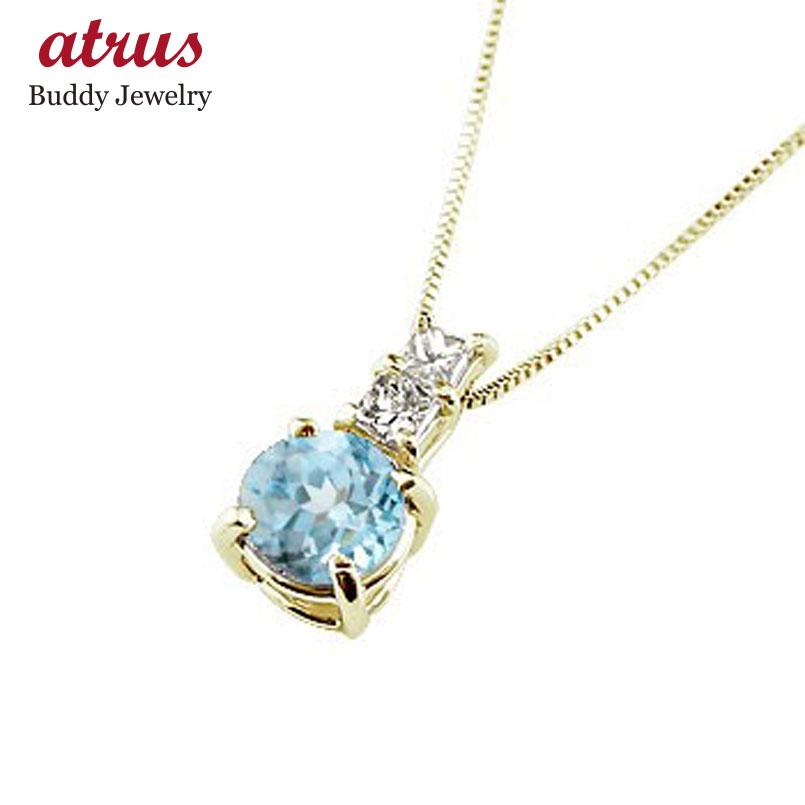 ネックレス ブルートパーズ ペンダント ダイヤモンド イエローゴールドk18  シンプル レディース チェーン 人気 k18 18金 11月誕生石