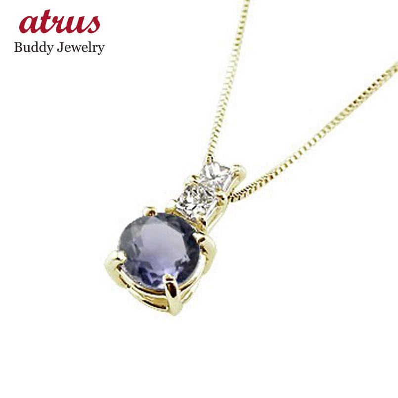ネックレス タンザナイト ペンダント ダイヤモンド イエローゴールドk18  シンプル レディース チェーン 人気 k18 18金 12月誕生石