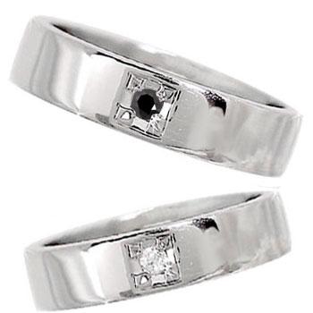 【送料無料・結婚指輪】ペアリング 結婚指輪 マリッジリング プラチナ 一粒ダイヤモンド ブラックダイヤモンド【工房直販】