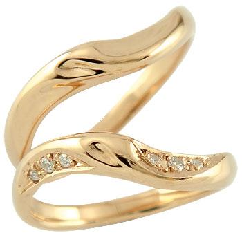 【送料無料・結婚指輪】ペアリング 結婚指輪 マリッジリング ダイヤモンド ピンクゴールドk18【工房直販】