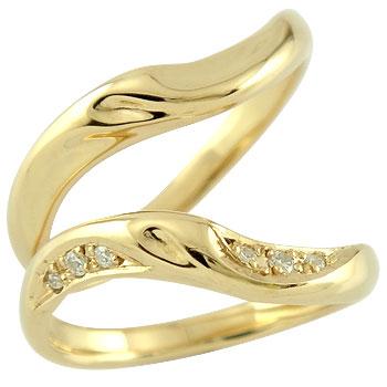 【送料無料・結婚指輪】ペアリング 結婚指輪 マリッジリング ダイヤモンド イエローゴールドk18【工房直販】