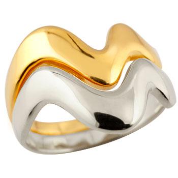 ペアリング 結婚指輪 マリッジリング V字リング イエローゴールドk18 プラチナ
