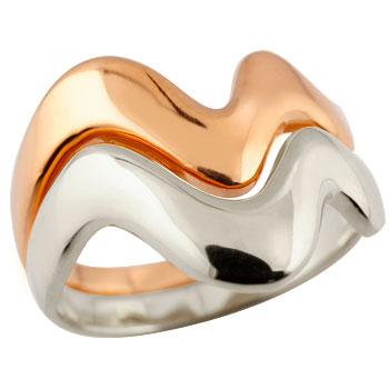 ペアリング 結婚指輪 マリッジリング V字リング ピンクゴールドk18 ホワイトゴールドk18