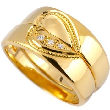 ペアリング 結婚指輪 マリッジリング ダイヤモンド ハート イエローゴールドk18