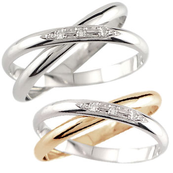 ペアリング プラチナ 結婚指輪 マリッジリング ダイヤモンド 2連 ピンクゴールドk18
