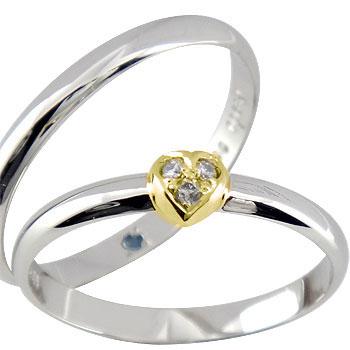 ペアリング ハート ダイヤ ダイヤモンド プラチナ 結婚指輪 マリッジリング ハンドメイド 結婚式 コンビ