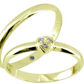 ペアリング ハート ダイヤ ダイヤモンド イエローゴールドk18 結婚指輪 マリッジリング ハンドメイド 結婚式