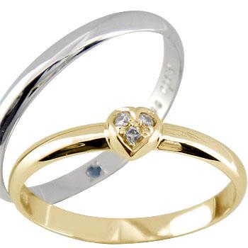 ペアリング ハート ダイヤ ダイヤモンド ピンクゴールドk18 プラチナ 結婚指輪 マリッジリング ハンドメイド 結婚式