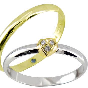 ペアリング ハート ダイヤ ダイヤモンド プラチナ 結婚指輪 マリッジリング プラチナ900 イエローゴールドk18 ハンドメイド 結婚式 コンビ