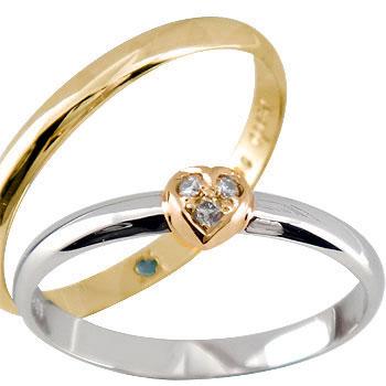 ペアリング ハート ダイヤ ダイヤモンド プラチナ ピンクゴールドk18 結婚指輪 マリッジリング ハンドメイド 結婚式 コンビ