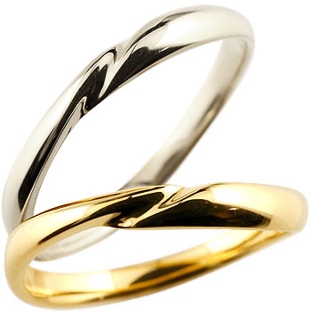 ペアリング 結婚指輪 マリッジリング ホワイトゴールドk18 イエローゴールドk18 18金 地金リング 結婚式 シンプル 宝石なし