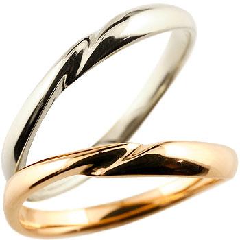 ペアリング 結婚指輪 マリッジリング プラチナ ピンクゴールドk18 18金 地金リング 結婚式 シンプル 宝石なし
