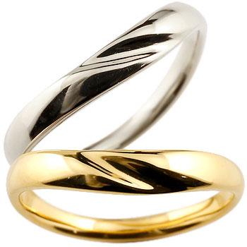 V字 ペアリング 結婚指輪 マリッジリング プラチナリング イエローゴールドk18リング 地金リング ブイ字 結婚式 シンプル 宝石なし