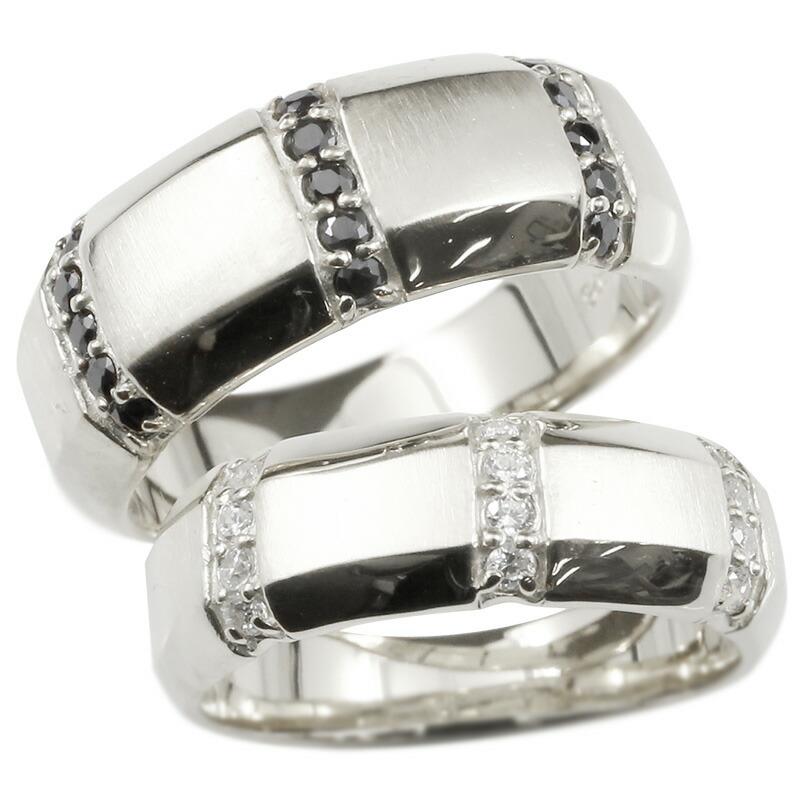 ペアリング プラチナ キュービックジルコニア ブラックキュービック 指輪 幅広 つや消し pt900 結婚指輪 マリッジリング リング カップル