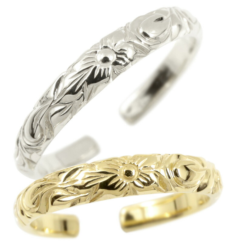 ハワイアンジュエリー ペアリング ホワイトゴールドk10 イエローゴールドk10 リング 指輪 フリーサイズ ハワイアンリング プルメリア スクロール 地金