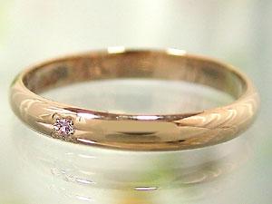 【送料無料・結婚指輪】ペアリングホワイトゴールドk10ブルーダイヤモンドピンクゴールドk10ピンクサファイア指輪☆2本セット【工房直販】