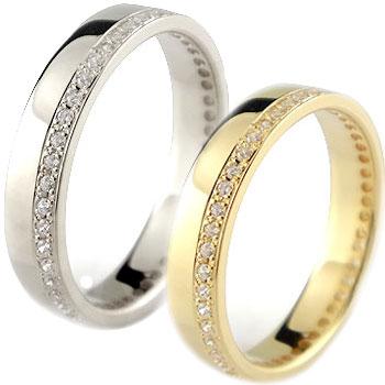 ペアリング 結婚指輪 マリッジリング フルエタニティ ダイヤモンド イエローゴールドk18 ホワイトゴールドk18