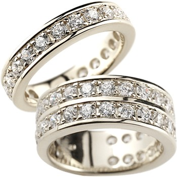 ペアリング 結婚指輪 マリッジリング ダイヤモンド ハーフエタニティ ホワイトゴールドk18