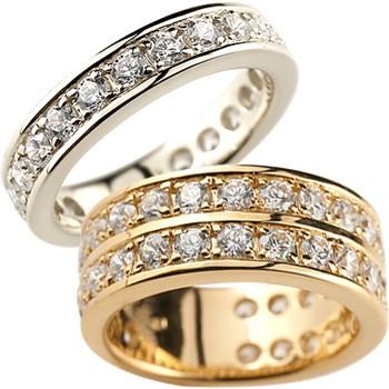 ペアリング 結婚指輪 マリッジリング ダイヤモンド ハーフエタニティ ホワイトゴールドk18 ピンクゴールドk18