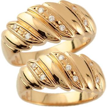 ペアリング 結婚指輪 マリッジリング ダイヤモンド 幅広 ピンクゴールドk18