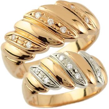 ペアリング 結婚指輪 マリッジリング ダイヤモンド 幅広 ピンクゴールドk18 プラチナ