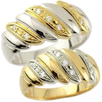 ペアリング 結婚指輪 マリッジリング ダイヤモンド 幅広 イエローゴールドk18 プラチナ