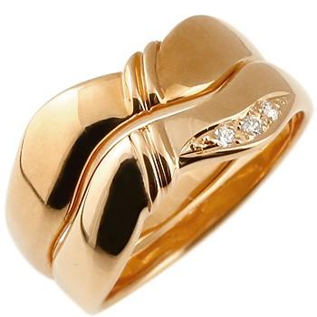 ペアリング ダイヤモンド結婚指輪 マリッジリング ピンクゴールドk18