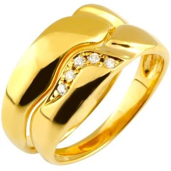 ペアリング ダイヤモンド 結婚指輪 マリッジリング イエローゴールドk18