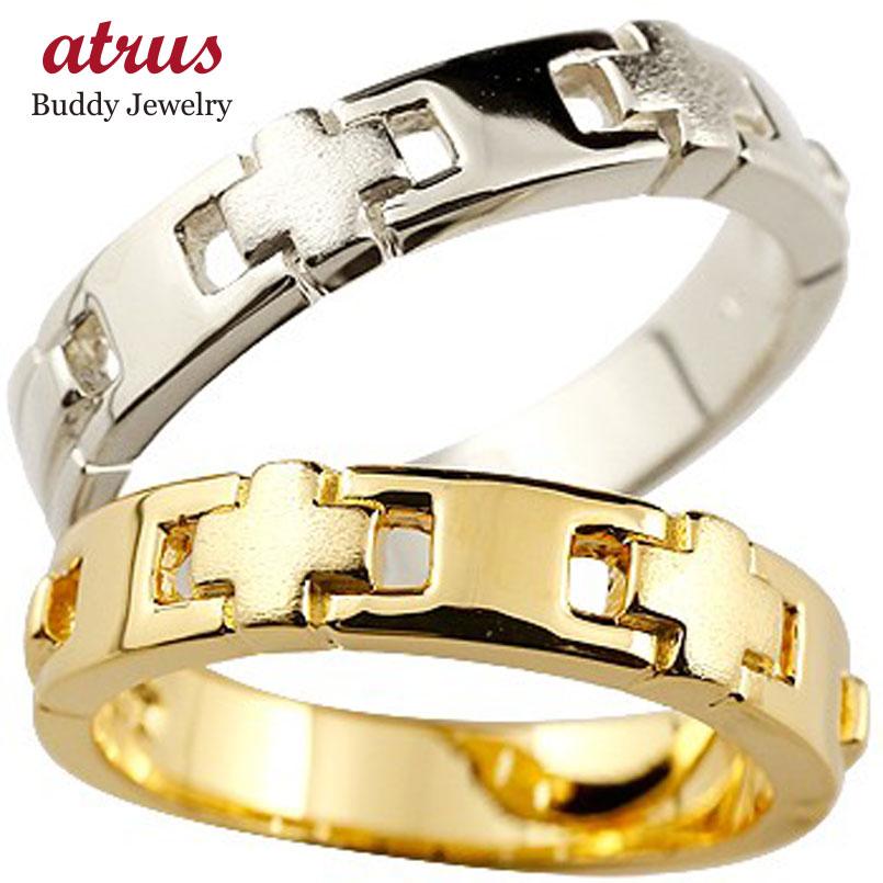 クロス ペアリング 結婚指輪 マリッジリング 幅広 つや消し ゴールドk18