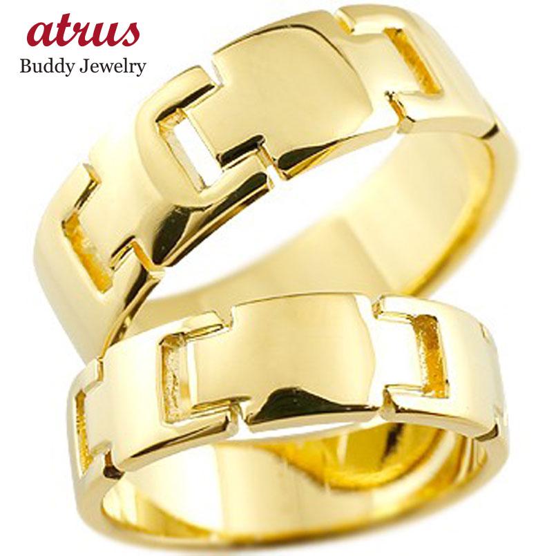 ペアリング クロス 結婚指輪 マリッジリング 地金リング イエローゴールドk18 十字架 シンプル 結婚式 宝石なし 人気