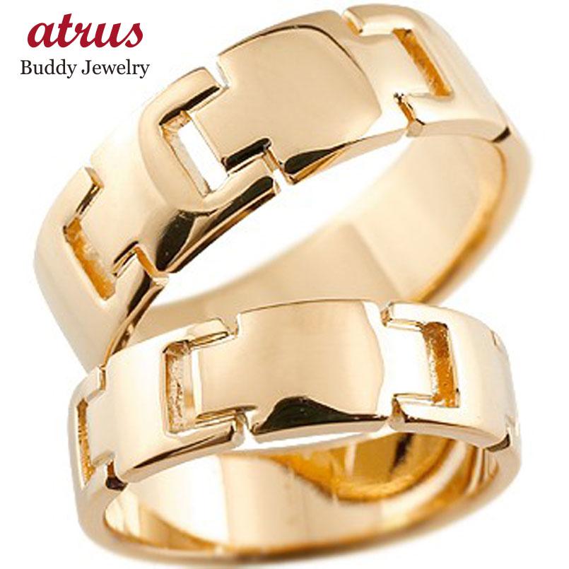 ペアリング クロス 結婚指輪 マリッジリング 地金リング ピンクゴールドk18 十字架 シンプル 結婚式 宝石なし 人気