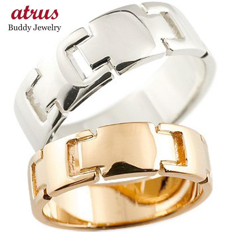 ペアリング クロス 結婚指輪 マリッジリング 地金リング ピンクゴールドk18 ホワイトゴールドk18 十字架 シンプル 結婚式 宝石なし 人気