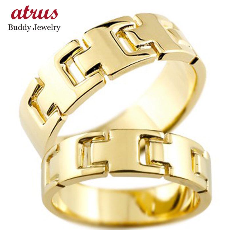 ペアリング 結婚指輪 マリッジリング 地金リング イエローゴールドk18 シンプル 結婚式 宝石なし 人気