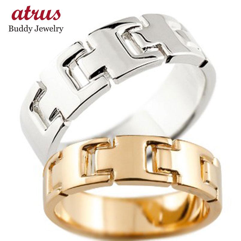 ペアリング 結婚指輪 マリッジリング 地金リング ピンクゴールドk18 ホワイトゴールドk18 シンプル 結婚式 宝石なし 人気