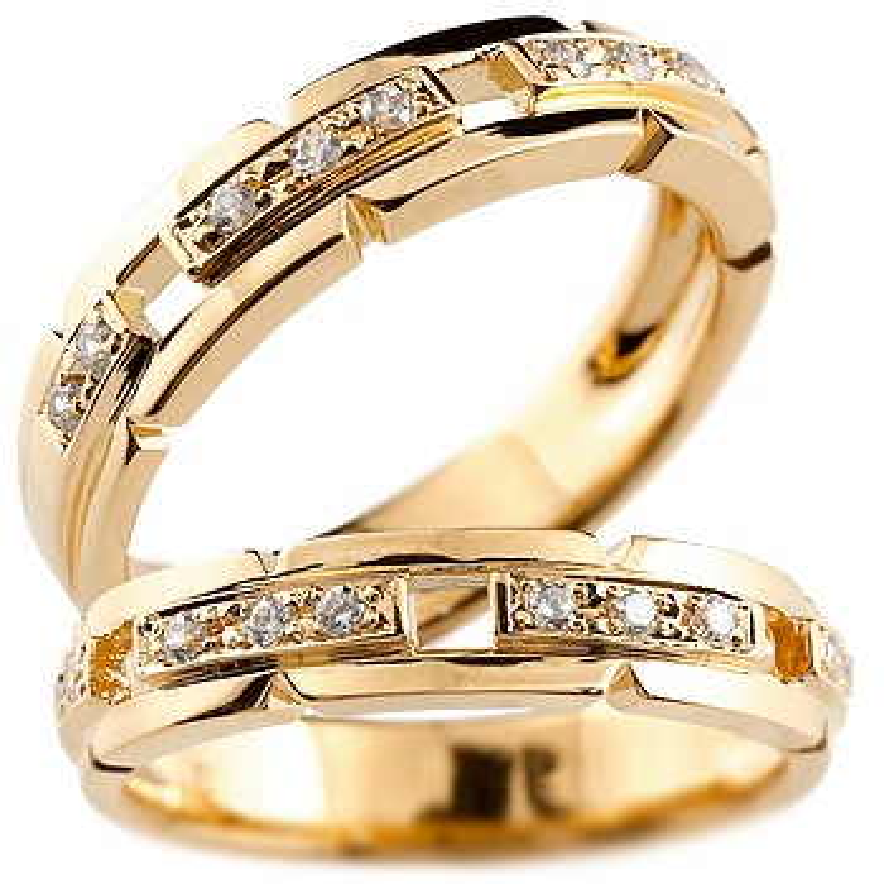 ペアリング 結婚指輪 ダイヤモンド マリッジリング ダイヤモンドリング ピンクゴールドk18 結婚式 人気