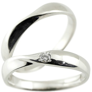 ペアリング ダイヤモンド 結婚指輪 マリッジリング ホワイトゴールドk18 一粒ダイヤ 地金 結婚式 シンプル