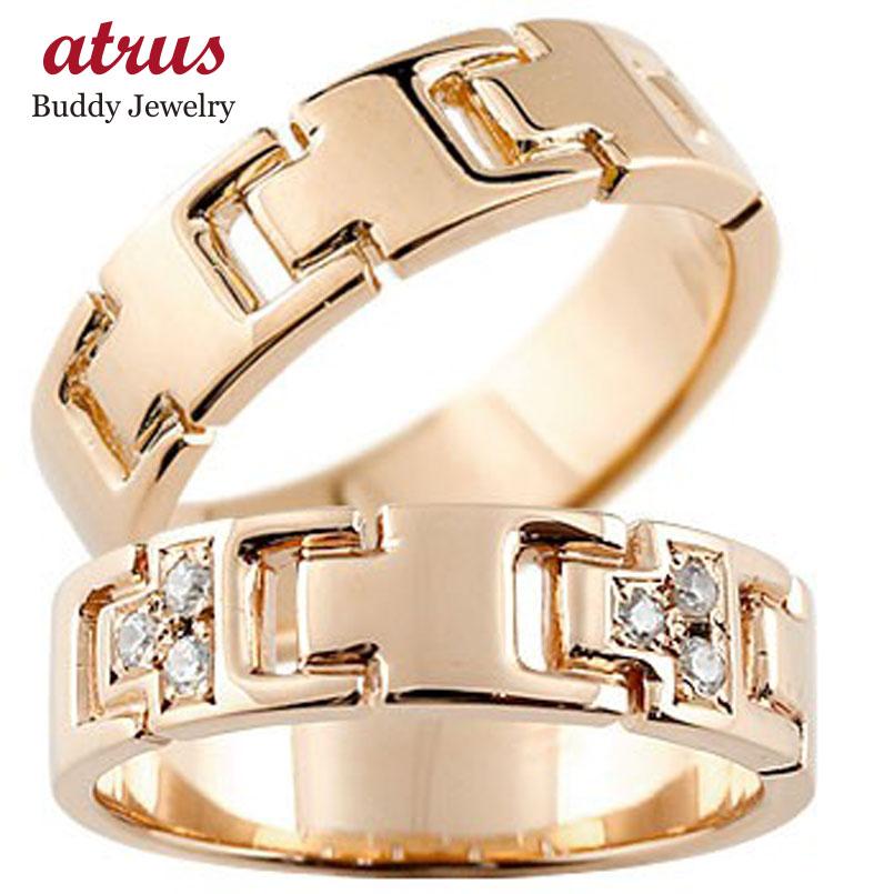 ペアリング ダイヤモンド ピンクゴールドk18 結婚指輪 マリッジリング ダイヤ シンプル 結婚式 18金 人気