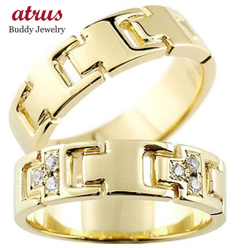 ペアリング ダイヤモンド イエローゴールドK18 結婚指輪 マリッジリング ダイヤ シンプル 結婚式 18金 人気