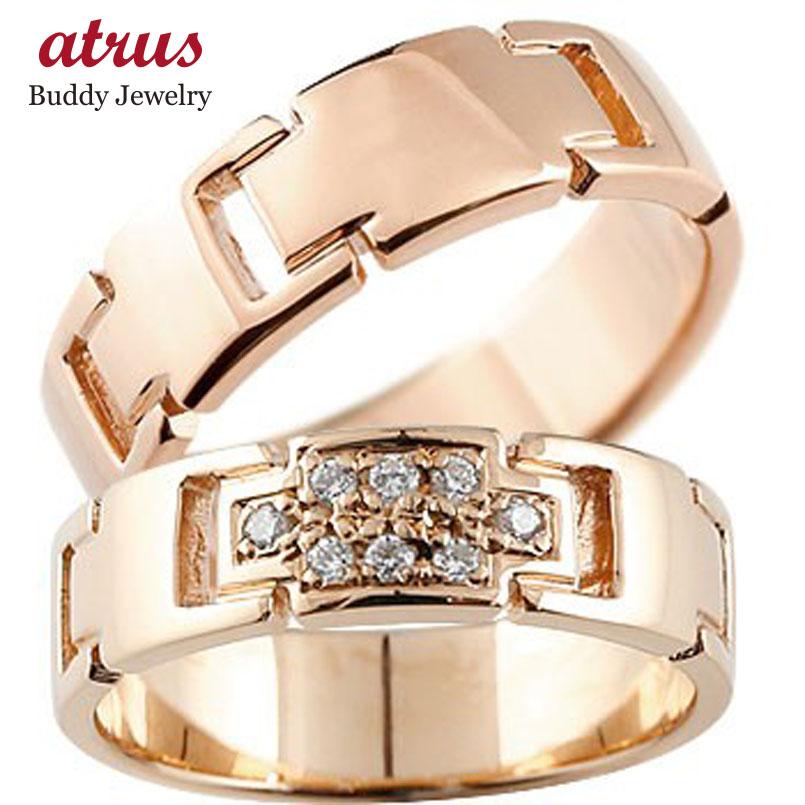 ペアリング クロス 結婚指輪 マリッジリング ダイヤモンド ピンクゴールドk18 ダイヤ 十字架 シンプル 結婚式 18金 人気