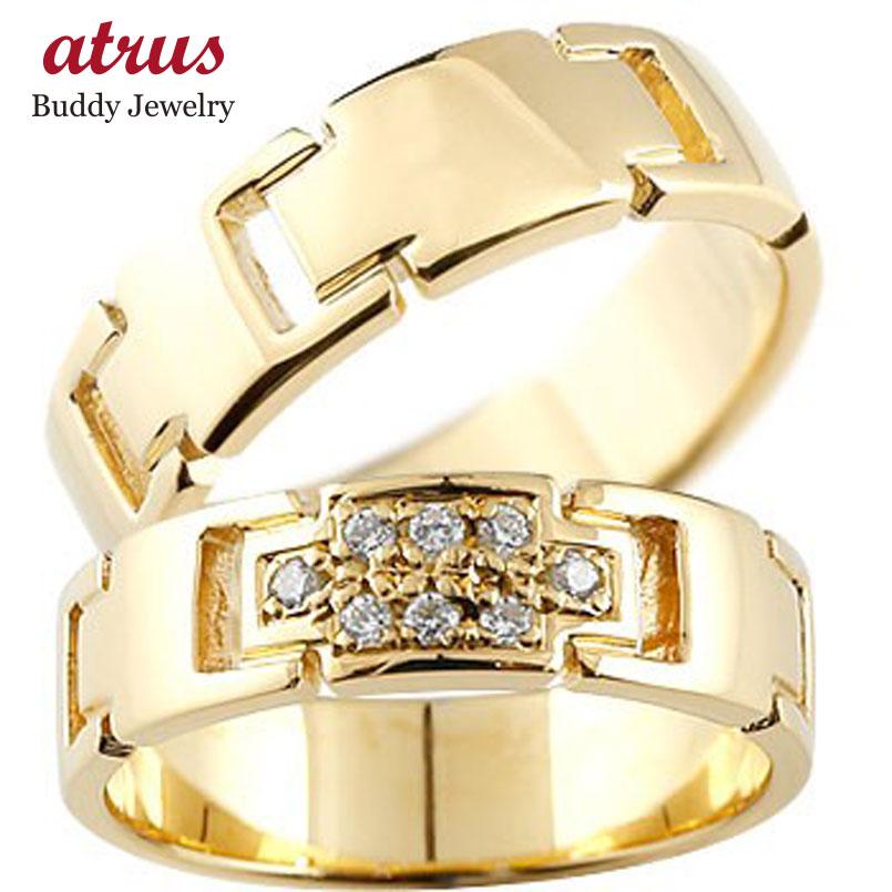 ペアリング クロス 結婚指輪 マリッジリング ダイヤモンド イエローゴールドK18 ダイヤ 十字架 シンプル 結婚式 18金 人気
