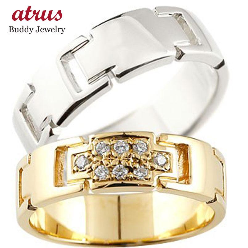 ペアリング クロス 結婚指輪 マリッジリング ダイヤモンド イエローゴールドK18 ホワイトゴールドk18 ダイヤ 十字架 シンプル 結婚式 人気