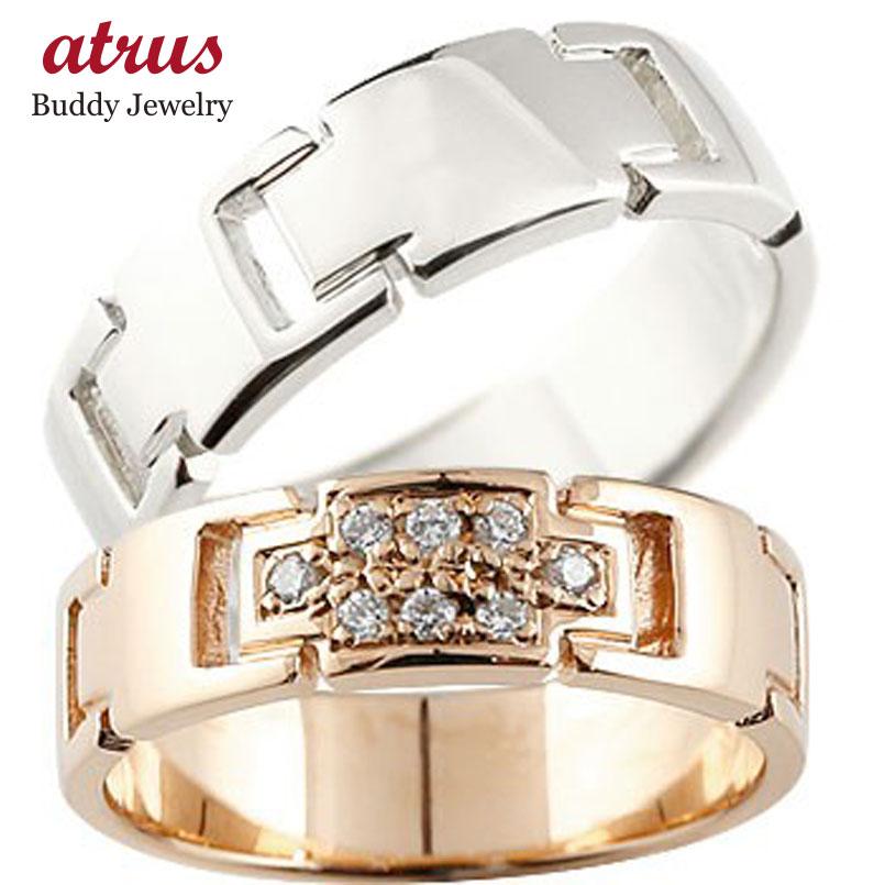 ペアリング クロス 結婚指輪 マリッジリング ダイヤモンド ピンクゴールドk18 プラチナ ダイヤ 十字架 シンプル 結婚式 人気