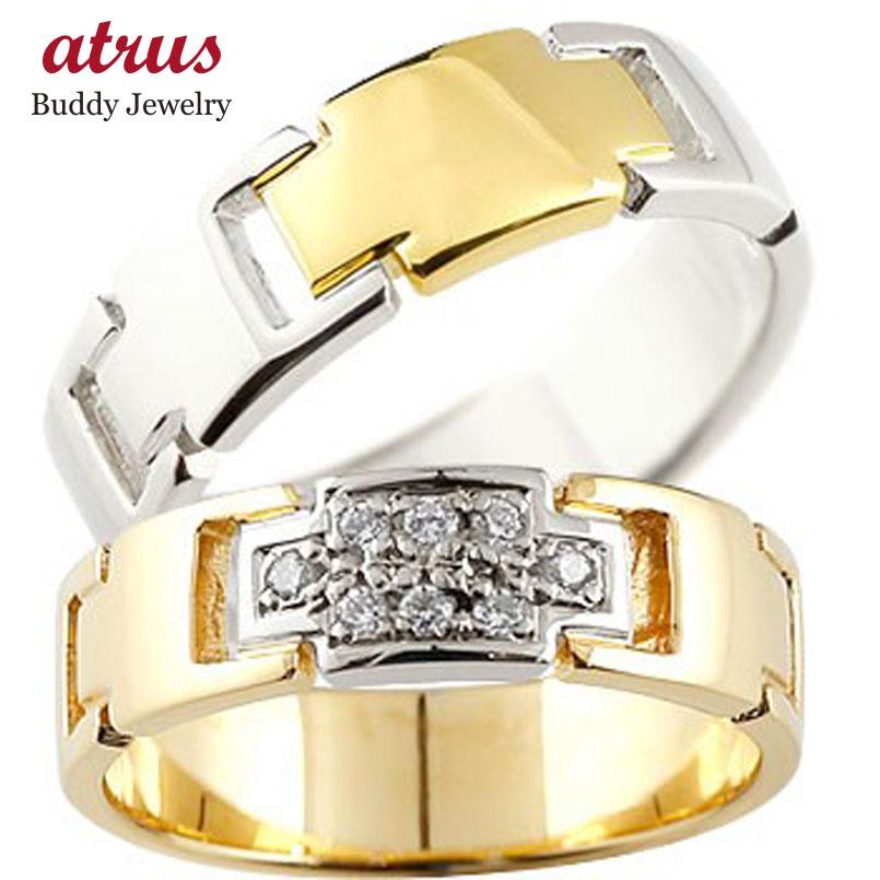 クロス ペアリング ダイヤモンド イエローゴールドK18 プラチナ 結婚指輪 マリッジリング コンビリング ダイヤ 十字架 シンプル 結婚式 人気
