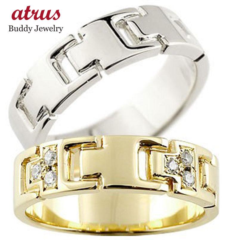 ペアリング ダイヤモンド 結婚指輪 マリッジリング イエローゴールドK18 プラチナ ダイヤ シンプル 結婚式 人気