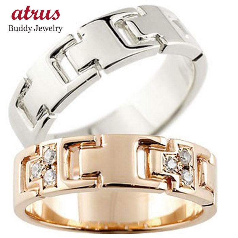 ペアリング ダイヤモンド 結婚指輪 マリッジリング ピンクゴールドk18 ホワイトゴールドk18 ダイヤ シンプル 結婚式 人気
