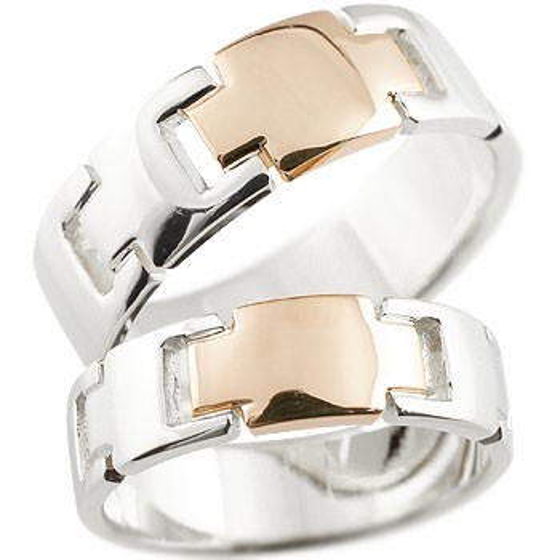 クロス ペアリング プラチナ ピンクゴールドk18 結婚指輪 マリッジリング コンビリング 地金リング 十字架 シンプル 結婚式 宝石なし 人気