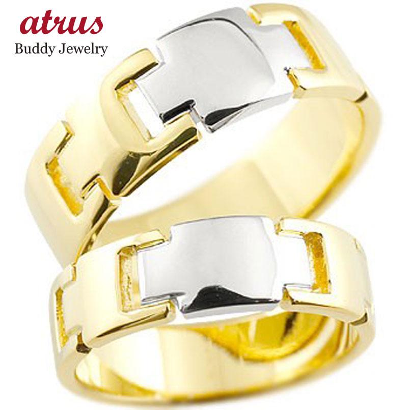クロス ペアリング 結婚指輪 マリッジリング イエローゴールドK18 プラチナ コンビリング 地金リング 十字架 シンプル 結婚式 宝石なし 人気