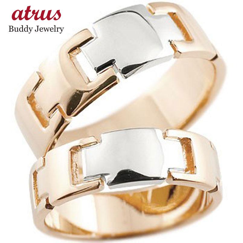 クロス ペアリング 結婚指輪 マリッジリング ピンクゴールドk18 プラチナ コンビリング 地金リング 十字架 シンプル 結婚式 宝石なし 人気