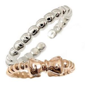 スイートハグリング ペアリング プラチナ 結婚指輪 マリッジリング ピンクゴールドk18 リボン フリーサイズリング 指輪 ハンドメイド 結婚式