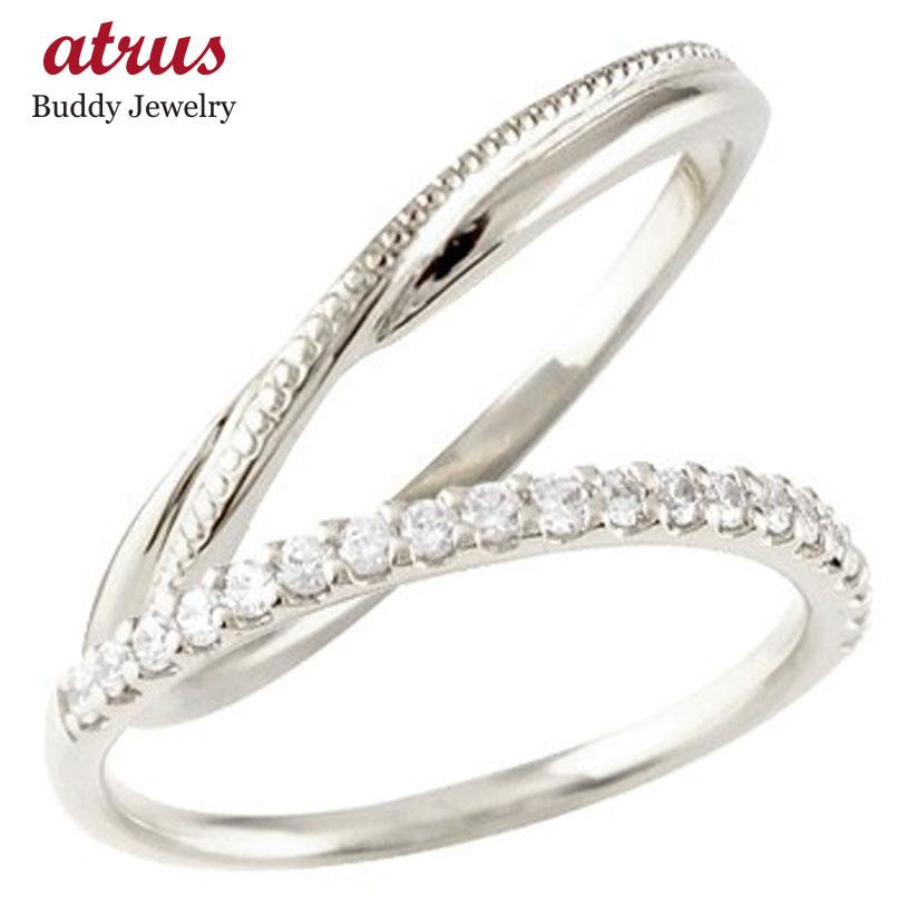 ペアリング 結婚指輪 マリッジリング ハーフエタニティ ダイヤモンド ホワイトゴールドk10 10金 極細 華奢 結婚式 ストレート